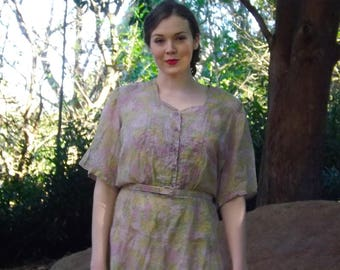 Vintage late 40s Nelly Don Semi-Sheer dress large