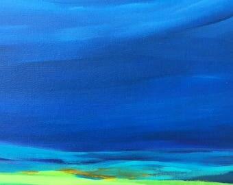 Abstract in rich blues and greens