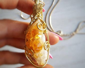 Citrine Crystal | Citrine Necklace | Citrine Pendant | Crystal Necklace | Citrine Gemstone | Crystal Pendant | Success Stone | Manifestation
