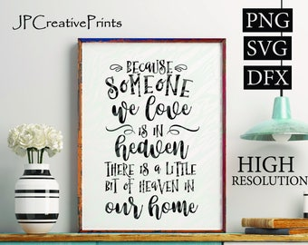Because someone we love is in heaven there is a little bit of heaven in our home  Printable Files, Quotes, Family, SVG, Instant Download