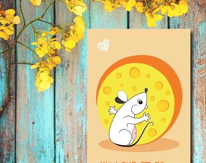 Printable poster Wall art Home decor digital poster illustration of Mouse and cheese