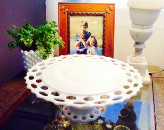Vintage Westmoreland Doric Open Lace White Milk Glass Cake Plate Stand