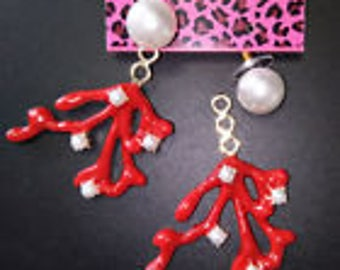 Betsey Johnson Stunning Red and Crystal Earrings