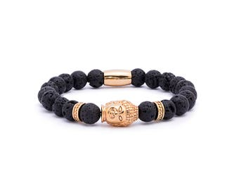 Lava gold Buddha bracelet