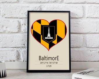 Baltimore poster Baltimore art Baltimore City poster Maryland Baltimore print wall art Baltimore wall decor Gift print