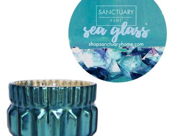 Sea Glass Soy Candle in Mermaid Mercury Artisan Glass