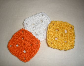 Set of six crochet granny squares