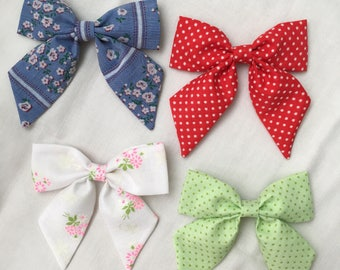 Sailor style bow made from vintage swiss dot flocked fabric