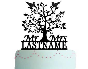 Wedding Cake Topper Mr And Mrs, Family Tree Cake Topper,  Rustic Cake Topper, Bird Cake Topper, Personalized Last Name Cake Topper