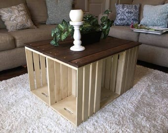 Rustic crate coffee table with reclaimed wood