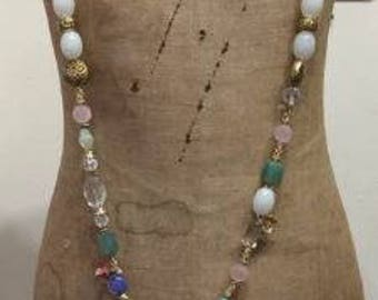 Necklace made with vintage and recycled beads