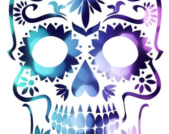 Abstract Skull  Cross Stitch Pattern Pinks,  Purples & Blues