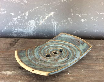 Blue SOAP dish ceramic bathroom with spiral