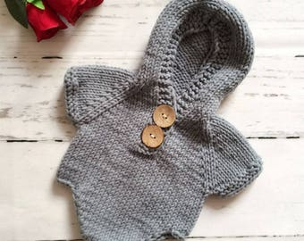 Crochet Romper Jumpsuit, Knit Newborn Photography Prop, Gray Cotton Hat, Party Costume, Knit Gray Cotton Overalls, A Girl Or A Boy Romper