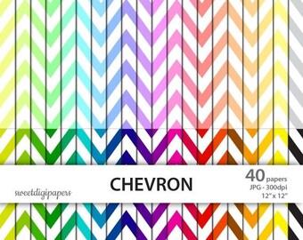SALE 50% Chevron Digital Paper, Rainbow Chevron Scrapbook, Colorful Chevron, Colorful Paper Pack, Chevron Background, Chevron Pattern, Digit