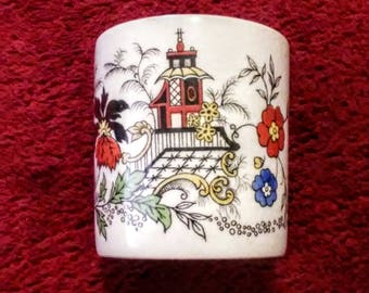 Match Cup, Toothpick Holder - Sandland Hanley Staffordshire English Imari Florals Pagoda
