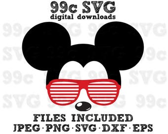 Mickey Mouse Sunglasses SVG DXF Png Vector Cut File Cricut Design Silhouette Cameo Vinyl Decal Disney Party Stencil Template Heat Transfer