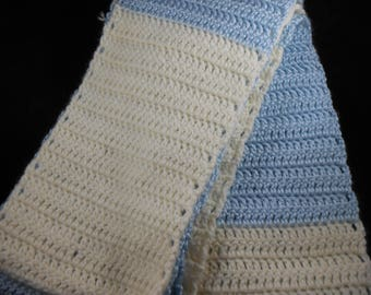 Cream and Blue crocheted scarf