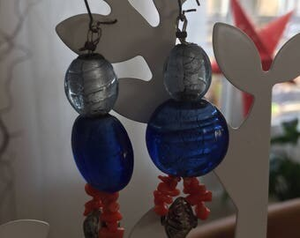 Blue and coral earrings
