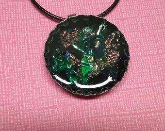 Iridescent Foil Bottle Cap Necklace
