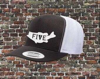 FIVE bass fishing hat