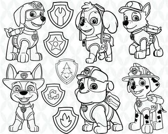 Paw Patrol outline  - Cutting Files and Clipart Svg Png Eps Dxf Jpg Digital Graphic Design Instant Download Commercial Use
