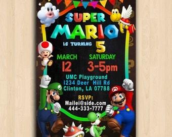 Super Mario Invitation,Super Mario Brother Invitation,Super Mario Brothers Birthday Invitation,Super Mario Bros Birthday Invitation
