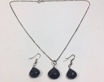 Sterling Silver  Blue Sapphire  Necklace with Blue Sapphire Earrings