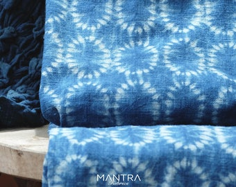 001 - Natural Hand Dyed Indigo Shibori Fabrics by Bio Method