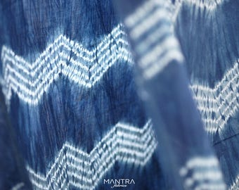 026 - Natural Hand Dyed Indigo Shibori Fabrics by Bio Method