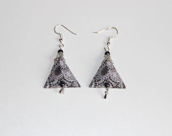 origami pyramid earrings