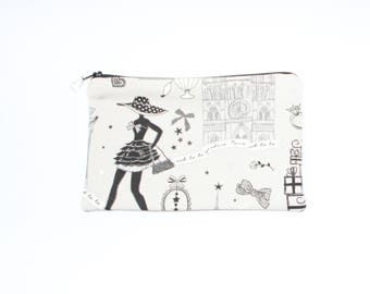 Fabric bag lined with silver charm