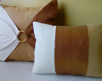 Matte Bronze Sequins (Peanut Butter Collection) Luxury Pillow Covers (2-Piece Set)