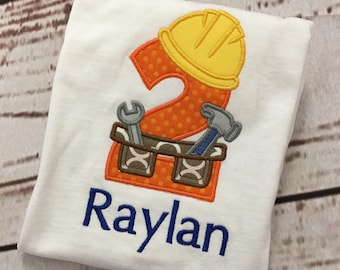 Boys Construction Toolbelt 1st - 6th Birthday applique with name shirt short sleeve FREE SHIPPING