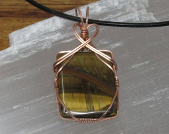 Handmade Copper Wire Wrapped Tiger's Eye Pendant Necklace