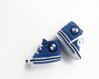 Bmw car blue booties Unique baby booties Shower booties Crochet baby booties Blue baby shoes Crocheted booties Baby boy booties