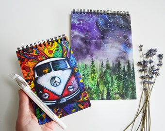 Set of 2 watercolor painting print journal diary white pen for black travel notebook  hippie set for me and friend black sketchbook
