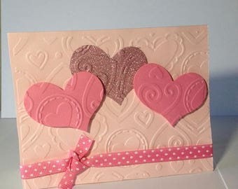 Greeting Card - Hearts of Love - Embossed - Grosgrain Ribbon