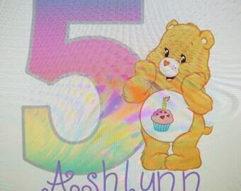 Birthday Bear shirt -  Care Bears Birthday shirt- long or short sleeve any age and name