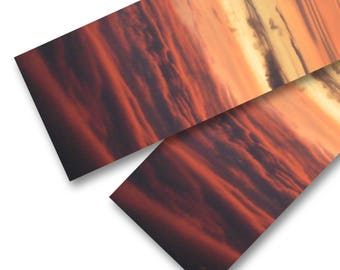 Long, Bold-Coloured Sunset Scarf, Sky & Clouds Scenic Photo Art Scarf featuring Gold, Red, Navy and Black, Made in Canada