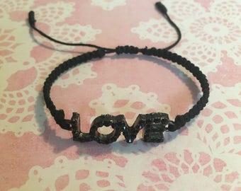 Love Bracelet - Adjustable Bracelet / Hemp Bracelet / Macrame Bracelet / Hippie Bracelet / Girl Gift / Black Bracelet /Boho Bracelet