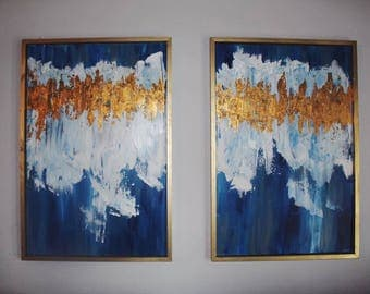 Single Hand-Painted Abstract Gold Leaf Artwork 36in x 24in