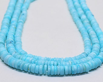 """AAA 100% Natural Blue Opal Tyre Beads Strand,Length 16"""" Strand,Beads Size 4.5 mm 