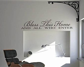 Bless This Home Vinyl Wall Sticker Inspirational Motivational Quote Wall Decal