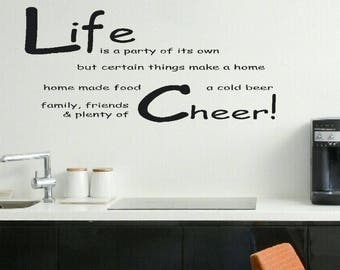 Beer Wall Sticker Quote Life Wall Decal Inspirational Funny Wall Quote  Sticker