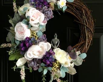 Peonies and Berries Wreath, Summer Wreath, Spring Wreath, Front Door Wreath, Door Wreath, Winter Wreath