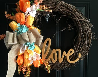 Summer Wreath, Spring Wreath, Front Door Wreath, Door Wreath, Tulip Wreath