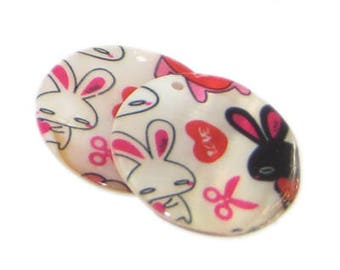 28mm Bunny Round Shell Pendant - 3 pendants