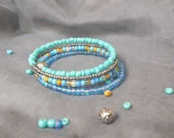 Blue/Turquoise  Beaded 4 Wrap Memory Bracelet