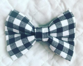 Black and white checkered bow
